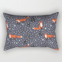 Red foxes in the nignt winter forest Rectangular Pillow