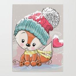 Cute baby Fox drawing art Poster
