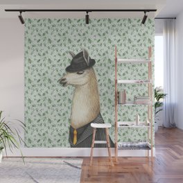 Gangster Llama in a Fedora and pinstriped suit Wall Mural