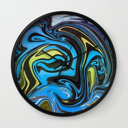 Marble in blue Wall Clock