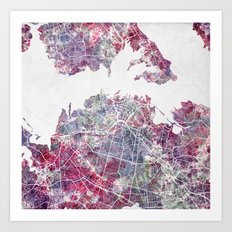 Auckland map watercolor Art Print