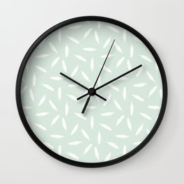 Pillow Fight,White on Mint Wall Clock