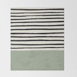 Sage Green x Stripes Throw Blanket