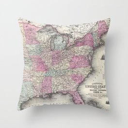 Vintage Map of The Eastern United States (1862) Throw Pillow