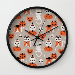 Halloween Kitties (Gray) Wall Clock