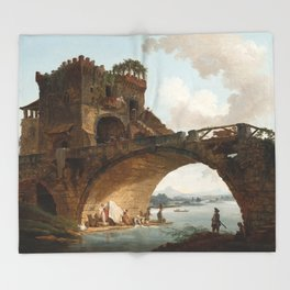 The Ponte Salario Oil painting by Hubert Robert Throw Blanket