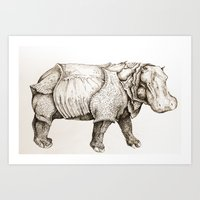 Hippopotamus. Art Print