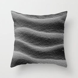 Sand_Ripples - Black and White Throw Pillow