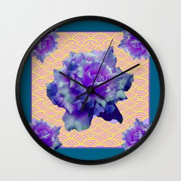 Teal Color Purple Roses Pink-Yellow Pattern art Wall Clock