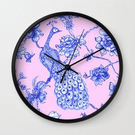Chinoiserie Peacock Blush Pink Wall Clock