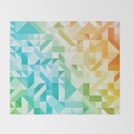 Colorful Geometric Pattern Saturated Rainbow Pattern Design (Red Pink Orange Yellow Green Blue) Throw Blanket