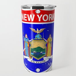 New York Flag Icons As Interstate Sign Travel Mug