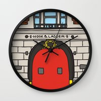 ghostbusters Wall Clocks featuring Ghostbusters Fire Station by evannave