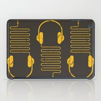 headphones iPad Cases featuring Gold Headphones by Sitchko Igor