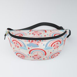 Sun Having Fun in the Rain (Cerulean and Red Palette) Fanny Pack