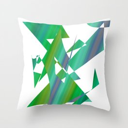 geometrical abstract shapes of green and blue Throw Pillow