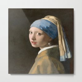 Girl with a Pearl Earring (1665), Old Masters Collection Metal Print
