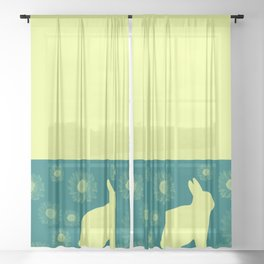Rabbit And Flowers Drawing Sheer Curtain