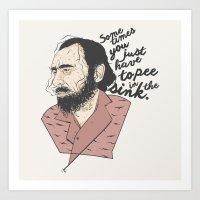 bukowski Art Prints featuring bukowski by desgastado