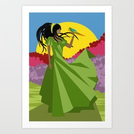 rasta dreadlock girl Art Print