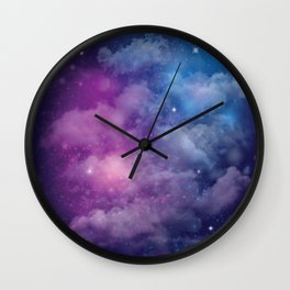 Pink and Blue Nebula Wall Clock