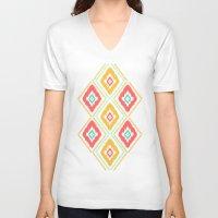 ikat V-neck T-shirts featuring Zig Zag Ikat (white) by Jacqueline Maldonado
