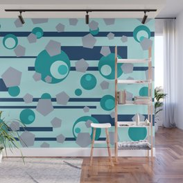 Geometric turquoise grey mix Wall Mural