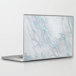Marble Love Sea Blue Metallic Laptop & iPad Skin