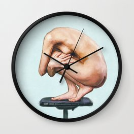 Nude Study of Female Body Hugging Itself Wall Clock