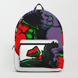 Angry gorilla breaking the wall Backpack