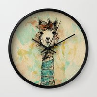 lama Wall Clocks featuring Lama by Anastasia Tayurskaya