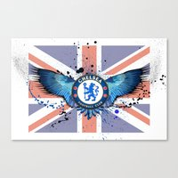 chelsea fc Canvas Prints featuring Chelsea FC by Future Illustrations- Artwork by Julie C