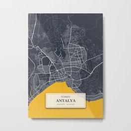 Antalya,Turkey City Map with GPS Coordinates Metal Print