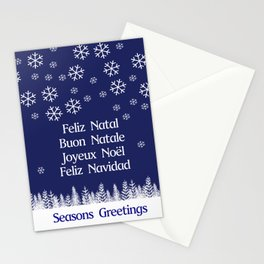 Christmas Card in 5 languages. Stationery Cards