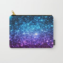 Glitter Galaxy Stars : Turquoise Blue Purple Hot Pink Ombre Carry-All Pouch