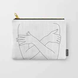 Crossed arms black and white illustration - Charli Carry-All Pouch