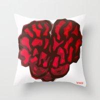 brain Throw Pillows featuring Brain by Myles Hunt