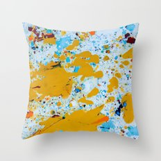 Yellow splat. Throw Pillow