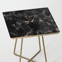 Rose Gold and Black Marble Side Table