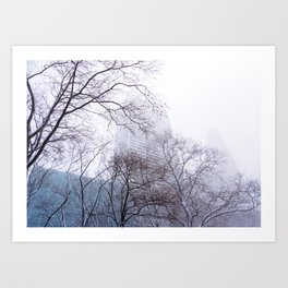 Snow in the Bryant Park Sky, NYC Art Print