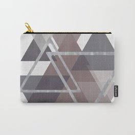 Gray and Pink Triangles Carry-All Pouch