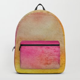 Abstract hand painted pink orange yellow grunge watercolor Backpack