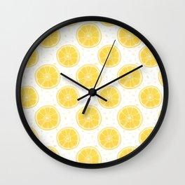 Lemons and Seeds Pattern Wall Clock
