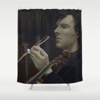 sherlock Shower Curtains featuring Sherlock by LucioL