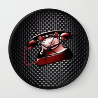 telephone Wall Clocks featuring TELEPHONE by Ylenia Pizzetti