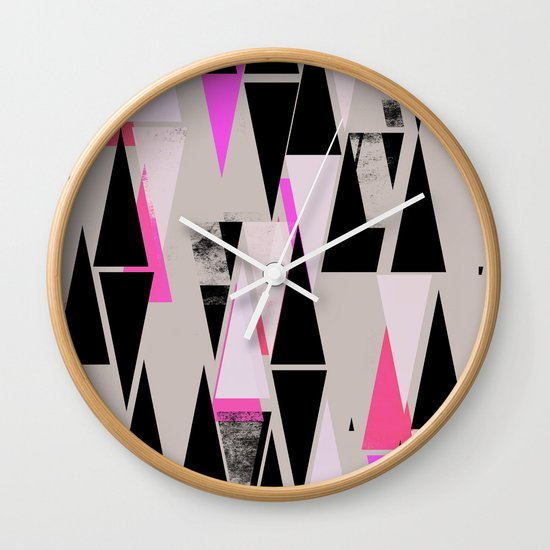 Pink Triangles II Wall Clock