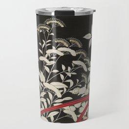 Kuro-tomesode with a Pair of Pheasants in Hiding (Japan, untouched kimono detail) Travel Mug