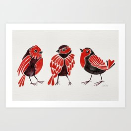 Finches – Red & Black Palette Art Print