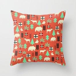 Christmas creatures retro pattern Throw Pillow