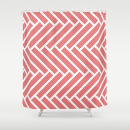 Coral and white herringbone pattern Shower Curtain